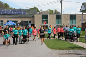 Dozens of people gathered at Strathroy's Seniors Centre to support and take part in the first annual Walk-it for Parkinson's walk in Strathroy. JONATHAN JUHA/ STRATHROY AGE DISPATCH/ POSTMEDIA NETWORK