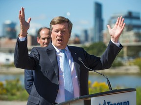 Toronto Mayor John Tory during an announcement - south of the Keating Channel - regarding infrastructure work on the Port Lands area, just east of downtown Toronto, Ont. on Wednesday September 14, 2016. Ernest Doroszuk/Toronto Sun