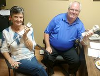The Kincardine and Community Health Care Foundation's 2nd annual Radiothon raised over $51,500 on Sept. 16, 2016. Pictured: Volunteer Sharon Lajoie and foundation board member Dorne Fitzsimmons took calls during the Radiothon. (Troy Patterson/Kincardine News)