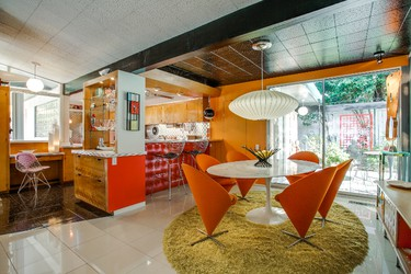 Located in northern Dallas, Texas, this retro mid-century home was designed by architect Gordon Nichols in 1954 and hasn't been changed at all by its subsequent owners, meaning the Technicolor textiles, sci-fi shapes and bubble-gum paint colours seen today are all authentic to the time. (Supplied by WENN.com)