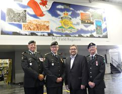 Capt. Karl Fitzgerald-Sloman, Lt. Col. Robert Christopher, Brantford Mayor Chris Friel and honory Lt. Col. Paul Williamson will participate in Saturday's Freedom of the City Parade to mark the 150th anniversary of the 56th Field Artillery Regiment. (Vincent Ball/The Expositor)