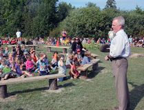 Sometimes, outdoors is better. Rockwood Public School Principal Terry Burwell addresses the student body gathered at the outdoor classroom set up close to the Rockwood Swamp, a nature area used as a living learning space. The classroom was officially inaugurated with a tree planting ceremony.