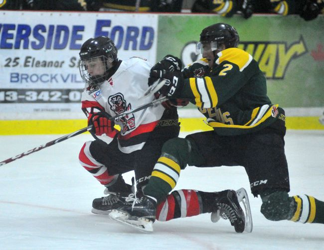 Brockville Tikis Adam Van Ettinger gets taken down by Westport Rideaus Brett Humberstone during Wednesday's game at the Memorial Centre. (Jonathon Brodie/The Recorder and Times)