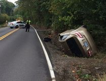 This is the scene after a woman crashed her car into a ditch in Portland, Ore., on Wednesday, September 21, 2016. (Twitter.com)