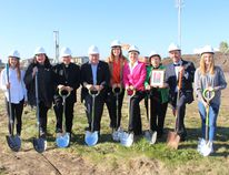 Grade 9 JPII student Allison Reich, EICS trustee chair Justine Wright, Bishop Gregory Bittman, Infrastructure Minister Brian Mason, Fort Saskatchewan-Vegreville MLA Jessica Littlewood, Mayor Gale Katchur, relative Simone Bessette, EICS superintendent Micheal Hauptman, and Grade 9 JPII student Lily Gaumont were all a part of the official sod turning and site blessing of the new St. André Bessette Catholic School on Sept. 21. (Lindsay Morey/Record Staff)