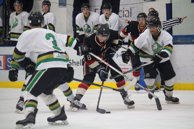 The Fort Saskatchewan Noyen Construction Junior B Hawks ruffled some feathers with a 5-1 win over the Sherwood Park Knights on Sept. 16 at the Jubilee Recreation Centre. (Lindsay Morey/Record Staff)