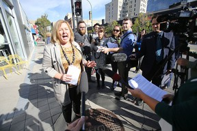 Angela Mathieson, president and CEO of Centre Venture Development Corporation, during a media conference in downtown Winnipeg Thursday.