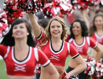 The Calgary Stampeders Outriders in performance at McMahon Stadium. The Bombers' visit is likely to end their winning streak.
