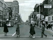 Downtown London, shown north at Dundas and Richmond streets in 1964, was crowded with shops and shoppers. (London Free Press file photo)
