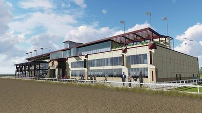 Rending of the grandstand of the horse racing track to be run by Century Casinos Inc. Photo Supplied