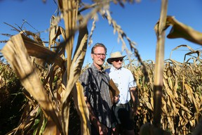 Ed Gregorich, Soil Scientist and Malcolm Morrison (R), Research Scientist could see their work destroyed if the Ottawa Hospital builds on Field no 1 of the central experimental farm in Ottawa. Jean Levac/Postmedia
