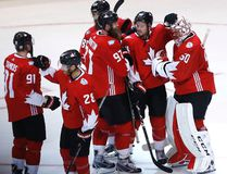 Team Canada congratulates each other as they beat Team Europe 4-1 in World Cup of Hockey round-robin game in Toronto on Wednesday Sept. 21, 2016. (Michael Peake/Toronto Sun/Postmedia Network)