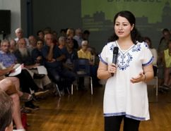 Minister of Democratic Institutions and Peterborough-Kawartha MP Maryam Monsef addresses the crowd during a town hall meeting on electoral reform at the Mount Community Centre on Tuesday, September 6, 2016. (Jessica Nyznik/Peterborough Examiner/Postmedia Network)