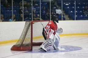 Sarnia Legionnaires goalie Jorgen Johnson was solid in net Friday as the Legion crew defeated the St. Marys Lincolns 3-2 in the Stone Town. It was Sarnia's third straight win in the Western Ontario Hockey Conference. (ANNE TIGWELL photo)