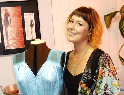 Jennifer Campaner, also known as The Stitchin' Chick, poses with her mannequin, wearing one of her own custom-made creations, a kimono. Mike Anthony / For The Nugget
