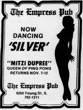 Ad for a Chilliwack bar that featured the infamous Mitzi Dupree circa 1983.