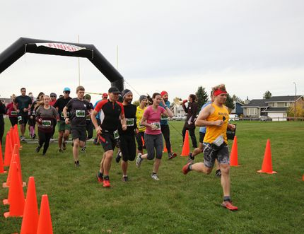 """And they're off! Runners start on the 12.8 kilometer """"Insanity"""" race at the Birchwood Bender on Saturday, Sept. 24, 2016. The race wound the Birchwood Trails in Thickwood as the first event of the year for the Wood Buffalo Trail Running Series. Olivia Condon/ Fort McMurray Today/ Postmedia Network"""