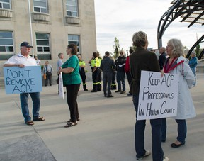 Before the Huron County council meeting the morning of Sept. 21, about 50 people congregated at the steps of the courthouse in hopes protesting may convince council to rethink its July vote to end its ACP program. (Darryl Coote/The Goderich Signal Star)