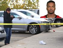 Inset: Stampeders defensive back Mylan Hicks. A polcie investigator at the scene of the fatal shooting early Sunday morning outside of a Calgary nightclub