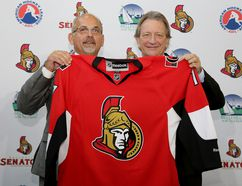 Belleville Mayor Taso Christopher and Ottawa Senators owner Eugene Melnyk pose for a photo op after an event where it was announced the Ottawa Senators are relocating their AHL team to Belleville where they will become the Belleville Senators, at the Quinte Sports and Wellness Centre, Monday September 26, 2016 in Belleville, Ont. Emily Mountney-Lessard/Belleville Intelligencer/Postmedia Network