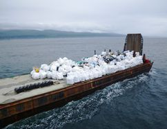 More than 40 tonnes of debris from Vancouver Island shorelines were put on this barge. SUBMITTED