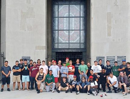 Members of the St. John's College senior football team recently travelled to Ohio to play in an exhibition game. The team also watched an NCAA football game between Ohio State University the University of Tulsa. (Submitted Photo)