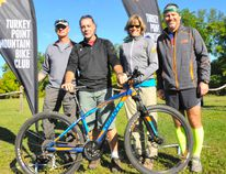 The Turkey Point Mountain Bike Club hosted the sixth annual Fall Ripper ride at Long Point Eco Adventures on Saturday, Sept. 24. Members taking part included, from left, Dwayne Nichols of Delhi, Simcoe's Andy Palermo, Jennifer Bennett of Simcoe and Bill Martin of Port Dover. JACOB ROBINSON/SIMCOE REFORMER