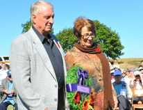 Neil and Gale Lemery carry a wreath during a ceremony Saturday honouring the 27 men from Rockford who served during the First and Second World Wars. The Lemerys live in the home where brothers Allan and Arnold Herron once resided. The Herrons were both killed in the Second World War. JACOB ROBINSON/SIMCOE REFORMER