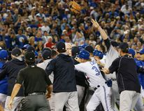 Both benches clear after Yankees pitcher Luis Severinio hits Justin Smoak in the second inning as the Blue Jays play the New York Yankees at the Rogers Centre in Toronto, Ont. on Sept. 26, 2016. (Stan Behal/Toronto Sun/Postmedia Network)