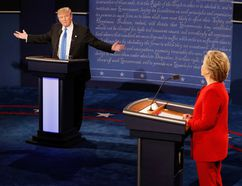 Republican presidential nominee Donald Trump (L) speaks as Democratic presidential nominee Hillary Clinton (R) listens during the Presidential Debate at Hofstra University on September 26, 2016 in Hempstead, New York. The first of four debates for the 2016 Election, three Presidential and one Vice Presidential, is moderated by NBC's Lester Holt. (Photo by Pool/Getty Images)