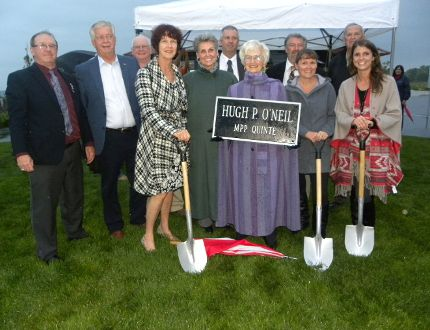 Ernst Kuglin/The Intelligencer Members of the O'Neil family and fund raising committee members turned the sod Monday evening on the Hugh O'Neil Friendship Garden, located adjacent to the Trenton Port Marina.