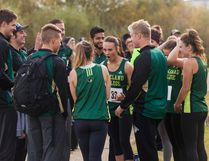 Members of the Lakeland College Rustlers' Cross Country team meet in a huddle before the women's five kilometre race on Saturday, Sept. 24, in the Vermilion Provincial Park. Taylor Hermiston/Vermilion Standard /Postmedia Network.