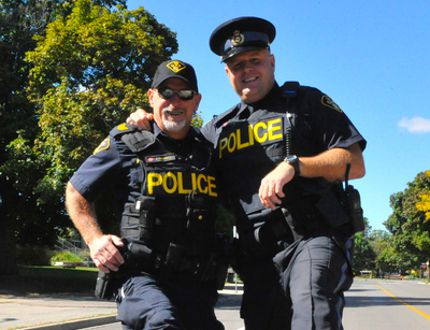 Norfolk OPP officers Ron Turkiewicz and Ed Sanchuk, who combined to raise over $1000 for the walk. Photos by JACOB ROBINSON/SIMCOE REFORMER