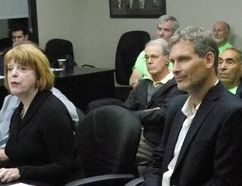 From left, St. Lawrence River Institute of Environmental Science's Karen Douglass Cooper, left, executive director Jeff Ridal and board chair Walter Oeggerli (behind Douglass Cooper), accompanied by a number of volunteers (behind them) made a presentation to Cornwall council on Monday September 26, 2016 in Cornwall, Ont. Greg Peerenboom/Cornwall Standard-Freeholder/Postmedia Network