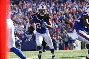 Stephon Gilmore of the Buffalo Bills returns an interception against the Arizona Cardinals at New Era Field on Sept. 25, 2016 in Orchard Park, New York. (Tom Szczerbowski/Getty Images)