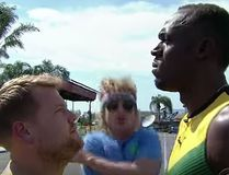 "Olympic champ Usain Bolt challenged ""The Late Late Show"" funnyman James Corden - as well as show staffers, and actor Owen Wilson - to a 100-metre race in the parking lot of a Los Angeles studio. (YouTube screenshot)"