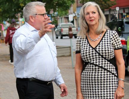 Sault Chamber executive director Rory Ring shows Ontario BIA executive director Kay Matthews some unique aspects of Sault Ste.Marie's downtown.