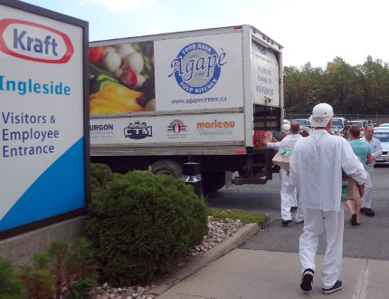 <p>Workers load some of the 215 jars of peanut butter donated to the Agape Centre at Kraft Heinz Canada's Ingleside plant.</p><p> Handout/Cornwall Standard-Freeholder/Postmedia Network