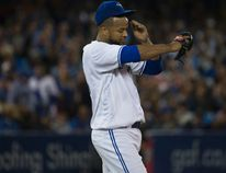 Toronto Blue Jays starter Francisco Liriano throws to the plate against the Baltimore Orioles in Toronto on Sept. 28, 2016. (Craig Robertson/Toronto Sun/Postmedia Network)