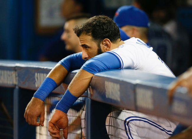 Jose Bautista watches the Jays last at bat as the Blue Jays lose to the Baltimore Orioles 3-2 at the Rogers Centre in Toronto, Ont. on Wednesday September 28, 2016. Stan Behal/Toronto Sun/Postmedia Network