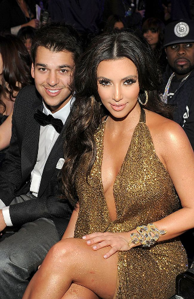 TV Personalities Rob and Kim Kardashian attend The 53rd Annual GRAMMY Awards held at Staples Center on February 13, 2011 in Los Angeles, California. (Photo by Larry Busacca/Getty Images For The Recording Academy)