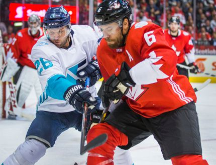 Team Canada defenceman Shea Weber and Team Europe forward Thomas Vanek in action during the second period in Game 1 of the World Cup of Hockey Final at the Air Canada Centre in Toronto on Tuesday, Sept. 27, 2016. (Ernest Doroszuk/Toronto Sun)