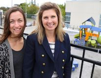 Tim Miller/The Intelligencer Belleville General Hospital Foundation volunteers, Kristen Whalen and Cassandra Bonn, stand outside of the Belleville General Hospital's Children's Treatment Centre on Thursday. The pair are co-chairs of the Help Them Play campaign and are currently raising funds to complete construction of a new outdoor therapy playground at the centre.