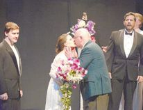 Rita, played by Charlotte Weeks, smooches Old Man, Alan Legg, as Dr. Boyle, played by Colin Foster, reacts, in the London Community Players' production of Prelude to a Kiss, opening Friday on the main stage at the Palace Theatre. (Ross Davidson, Special to Postmedia News)