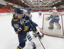 The Fort McMurray Oil Barons acquired Calgary Mustangs forward Davis Sheldon Wednesday before their game against the Bonnyville Pontiacs. Aryn Toombs/Calgary Herald/Postmedia Network