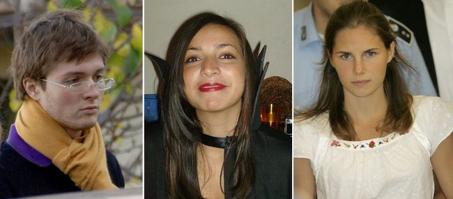 File photos combo shows, from left; Italian student Raffaele Sollecito, slain 21-year-old British woman Meredith Kercher, her American roommate Amanda Knox. (AP Photo/files)