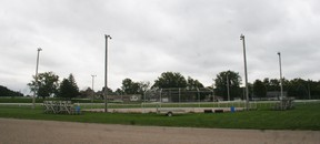The softball diamond by the racetrack will have improved light level, the fences moved back and a sports clay surface. (Justine Alkema/Clinton News Record)
