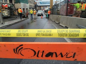 A small sinkhole opened up on Rideau Street on Sunday, Oct. 2, 2016.