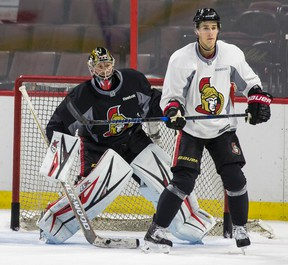 Ottawa goaltender Craig Anderson (left) took a pelting of pucks last season because his team, for the most part, hung him out to dry. Now the 35-year-old is back for more.
