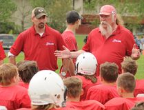 Les Noel (centre) gives his team a pep talk to his Peewee Rams football team a few years ago. Noel passed away Sept. 17 at 59 after a lengthy battle with cancer. After moving to Grande Prairie in 1979, Noel coached peewee, bantam and high school football in the community for more than 25 years. (DHT FILE PHOTO)
